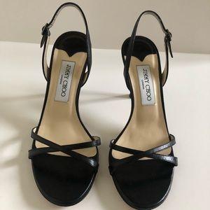Jimmy Choo Jasmin Black Strappy Heels 37.5 / 85mm